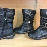 Зимние кожаные сапоги для девочки