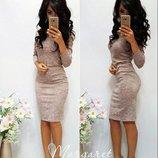 Классическое платье-футляр ангора-меланж от р40 по р52 разные цвета повседневное тёплое с вырезом го