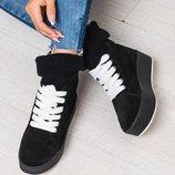 Новинка Стильные демисезонные женские кеды / ботинки Натуральная итальянская замша