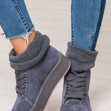 Стильные демисезонные женские кеды / ботинки Натуральная итальянская замша