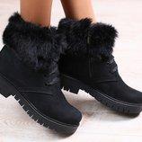 Зимние женские полуботинки, из натурального нубука, черные, на меху, на шнурках, на замочке, на низк