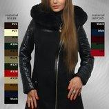 Красивое зимнее пальто снатуральным мехом