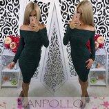 Тёплое платье ангора открытые плечики