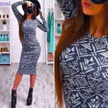 Хит сезона Тёплые платья 6 разных принтов ангора-меланж