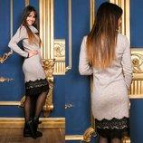 Теплое платье-миди ангора с отворотом под горло с кружевом