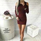 Хит Шикарное платье с вырезами на плечах Бордо Ангора трикотажное повседневное вечернее с р40 по р46