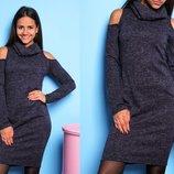 Хит Тёплое повседневное платье-миди с вырезами на плечах и горловиной ангора 4 цвета от р40 по р46