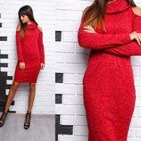 Платье-Миди с горловиной ангора-меланж 4 цвета