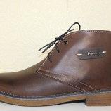 Коричневые кожаные зимние ботинки р.38-39