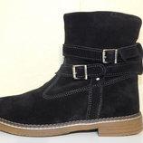 Черные зимние замшевые ботинки