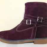 Бордовые женские зимние ботинки замш