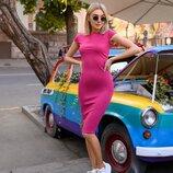 Хит продаж Платье футляр от р40 по р52 классическое за колено трикотажное разные цвета с вырезом