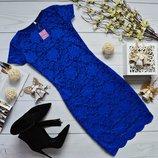 Мини-Платье короткий рукавчик набивной гипюр с фистоном 5 цветов