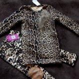 Распродажа Теплая леопардовая туника на меховушке