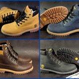 Кожаные зимние мужские ботинки в стиле Timberland 4 цвета , натуральный нубук Гарантия качества