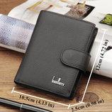 Мужской кожаный черный кошелек, портмоне, натуральная кожа baellerry