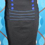 Поделиться Черная деловая юбка с синей отделкой, юбка-карандаш р. 44, 46, 48