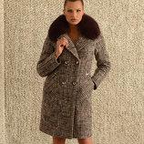 Супер цена Зимнее пальто клетка с натуральным мехом