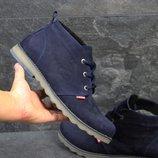 Ботинки зимние Levis dark blue, замш