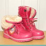 Ботинки зимние на меху на девочку 27-32 р малиновые арт 83-2