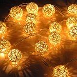 Гирлянда шарики ротанг LED светодиодная. для дизайна. На батарейках.