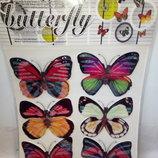 3D бабочки для декора стен 6шт всего 30гр