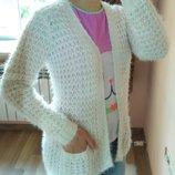 14-15 лет. Белый кардиган травка с карманами New Look