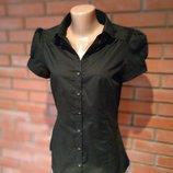 Черная котоновая рубашечка с коротким рукавом