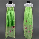 Карнавальный костюм платье королева Эльза Фрозен зеленое рост 110 120см