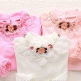 Нарядная с розой и жемчугом блузка реглан гольф с кружевом р. 120-160