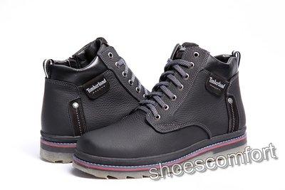 Кожаные зимние ботинки Timberland T - 248 черные шнурок и молния ... 509bdb05a2b94