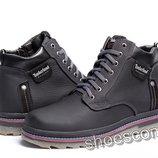 Кожаные зимние ботинки Timberland T - 248 черные шнурок и молния