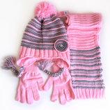4-8 г Комплект 3в1шапка на флисе шарф перчатки Kitti cool деми /зима 52-56 розовый