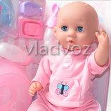 Кукла пупс розовая пижама свитер 7 предметов 8 функций 2549