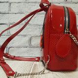 Рюкзак OnFleek натуральная кожа,красный лак