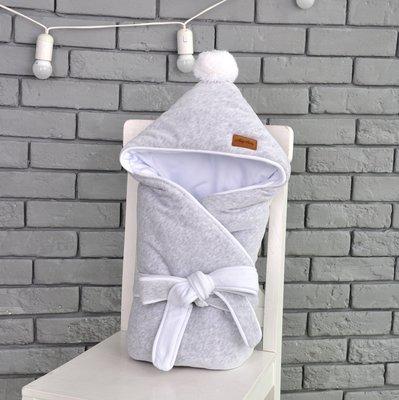 Велюровый конверт-одеяло на выписку MagBaby демисезон серый