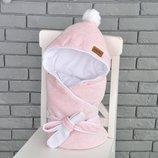 Велюровый конверт-одеяло на выписку MagBaby демисезон розовый