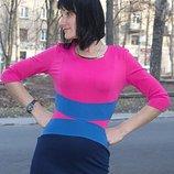 Трикотажное платье 3 цвета, размер 46-48