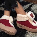 Изумительно Модные Топсайдеры-Ботиночки Зима -мех-бордо