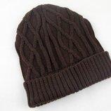 Вязаная зимняя шапка с объёмным узором на флисе унисекс 2 цвета AL7937