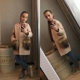 Пальто кашемир с меховыми карманами