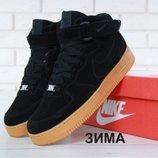 Зимние мужские кроссовки Nike Air Force Winter Black натуральная замша с мехом