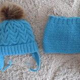 супер зимний комплект набор шапка шапочка на флисе и хомут