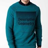 темно-зеленый мужской свитшот De Facto с надписью на груди Descriptive geometry