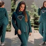 Женский спортивно-прогулочный костюм в больших размерах 206 Диамант Стразы в расцветках.