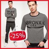 серый мужской свитшот De Facto с надписью Bronx U.S.A.