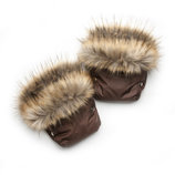 Рукавички для мамы на коляску, муфта коричневый енот 03-00750-1