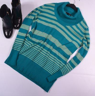 Удлиненный свитер-гольф в полоску