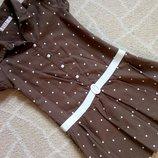Платье в горошек цвета хаки