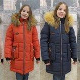 Зимняя куртка с мехом для девочки Гучи-Карман, р.34-42